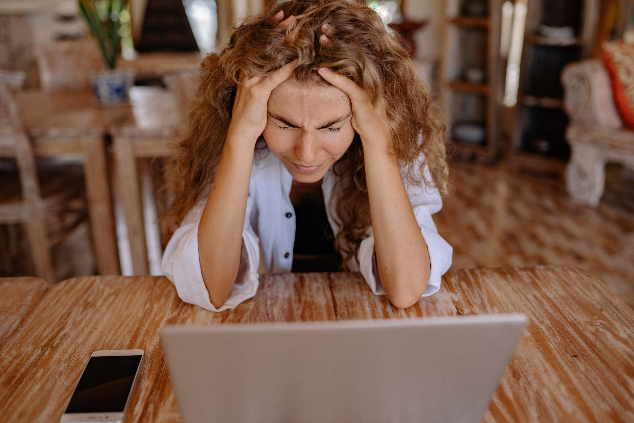 Frustrated woman is ready to start trading with SafeDay Trading
